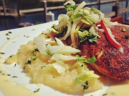 Blackened cobia over a creamy polenta, topped with an apple chervil slaw. #lunch #yum #foodporn #fishhousepensacola #pensacola #downtownpensacola #cobia #seafood #gulftotable