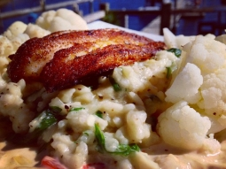 Blackened #grouper over a spinach and leek risotto, served with a side of sautéed cauliflower. #fishhousepensacola #lunch #yum #downtownpensacola #seafood