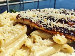 Come see us for lunch! Today's special: Blackened mahi over penne pasta tossed in Boursin cheese cream sauce served with grilled asparagus.