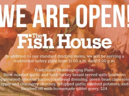 Happy Thanksgiving! We are OPEN! Come spend Thanksgiving at our house! In addition to our standard menu, we will also offer a traditional turkey plate!
