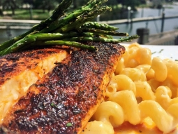 Let's do lunch. Today's special: ?Blackened mahi over cavatappi pasta tossed with lobster fennel sauce served with grilled asparagus finished with freshly grated Parmesan!