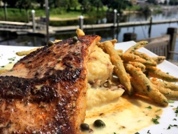 TGIF! Come see us for lunch! Today's special: ?Blackened Cobia over crab mashed potatoes with fried green beans and lemon caper butter sauce. ?
