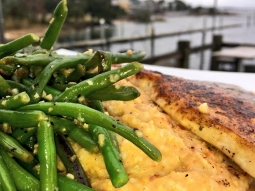 Eat lunch with us today! Today's lunch special: ?Blackened swordfish over Acadia grits served with sautéed green beans and finished with meuniere sauce and sweet potato hay! ?
