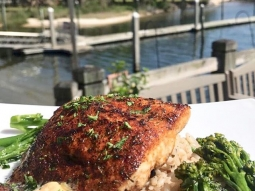 Treat yourself to lunch today! Our daily special is blackened mahi served over black bean rice pilaf and broccolini and finished with sriracha lime butter. #fishhousepensacola #downtownpensacola #upsideofflorida