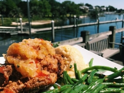 Who's ready for lunch?! Today's special: Pecan fried red fish over Gouda grits, served with a side of of sautéed green beans, finished with pineapple chutney and house made sweet and sour sauce