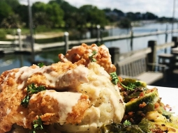 It's a beautiful day for lunch at our house! Today's special: Pecan fried grouper over mashed potatoes, served with a side of red ale braised Brussels sprouts, finished with meunière sauce