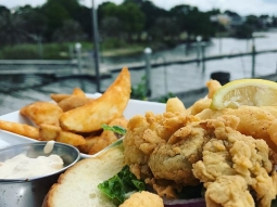 "Let's have lunch!  Today's special: ""Peace Maker"" Po' boy with bacon, mayo, fried shrimp and oysters"