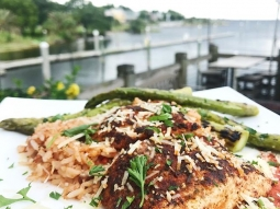 It's lunch time! Today's special: Blackened amberjack over jambalaya, served with a side grilled asparagus, finished with fra diavolo sauce and freshly grated Parmesan cheese